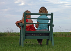Pondering (Young) Life (Tory's Captive Light) Tags: life blue girls friends red summer sky playing green field grass bench fun chair friend warm sitting play cousins think young together sit thinking conversation stool talking tory pondering tish