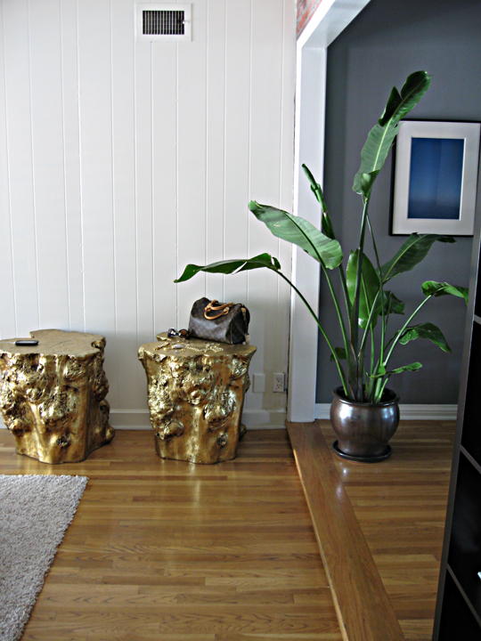 gold tree stumps in our house