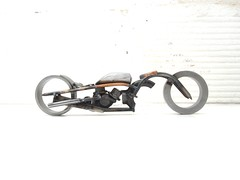 Welded metal motorcycle sculpture
