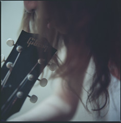 Me and my guiter (Kannnnaaa) Tags: selfportrait hasselblad guiter selfscan selfdevelopment gibsonj50 n