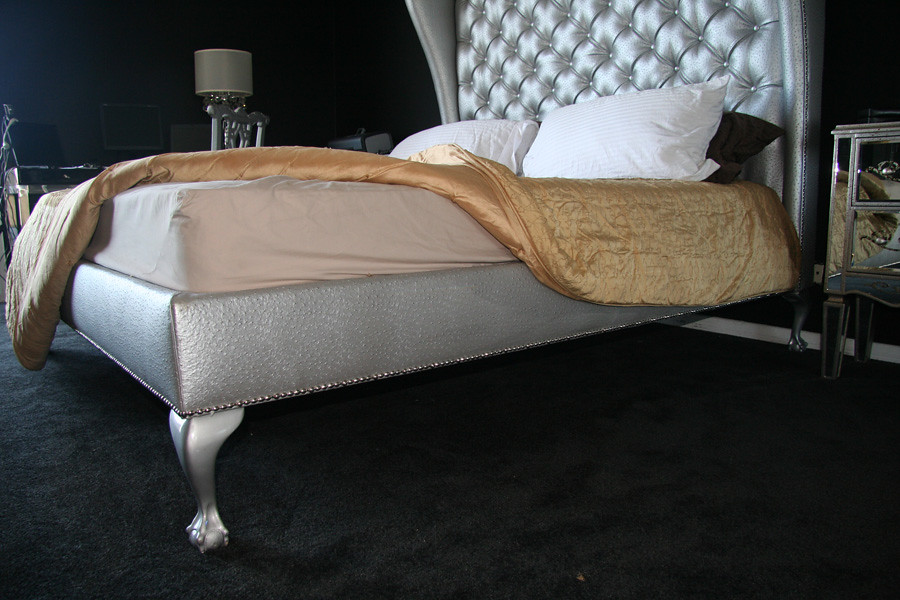 Silver Wingback Headboard Bed Diva Rocker Glam 424 245 4503 Tags