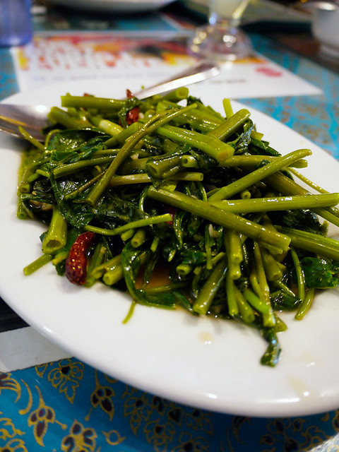jitlada water crest (kang kong) in a lemon  sauce