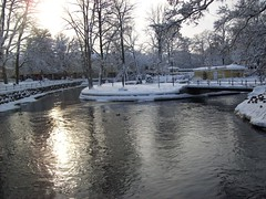 rebro stream in winter. (mescribe) Tags: bridge autumn winter light sunset snow reflection castle fall ice nature sunrise countryside october stream december view sweden january sunny august september steeple foliage shade february rebro kumla