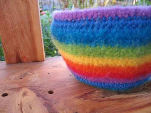 Felted bowl up close