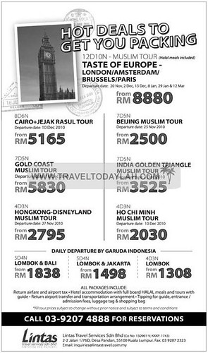 Lintas Muslim Tours to London, Amsterdam, Brussel, Paris, Gold Coast, Hong Kong Disneyland, Beijing, India Golden Triangle, Ho Chi Minh