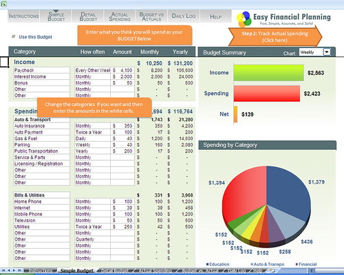 EasyFinancialPlanning.net Simple Budget by EasyFinancialPlanning.net