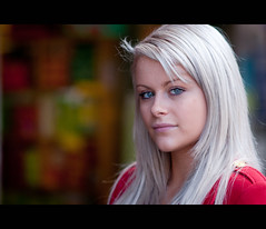 Holly. 84-100 (Andy. H) Tags: street red portrait colour girl beautiful hair haze eyes nikon focus pretty lashes bokeh streetphotography streetportrait melbourne stranger lips holly jacket blonde colourful platinum 105mm d90 icedesigns 100strangers 143swanstonst