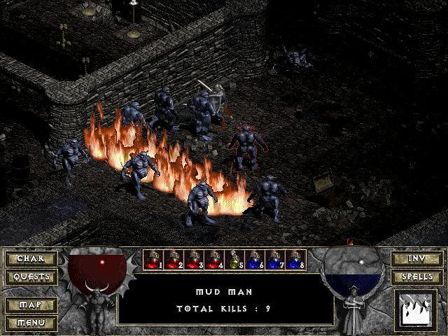 Un mur de flammes dans Diablo 1
