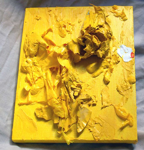 Yellow by Tiffany Gholar. Acrylic paint and paint skins on canvas