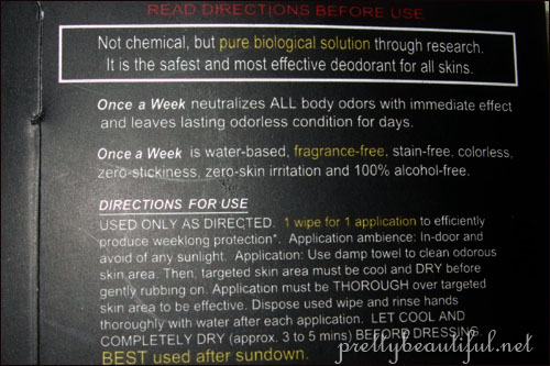 Weekly Deodorant Instructions