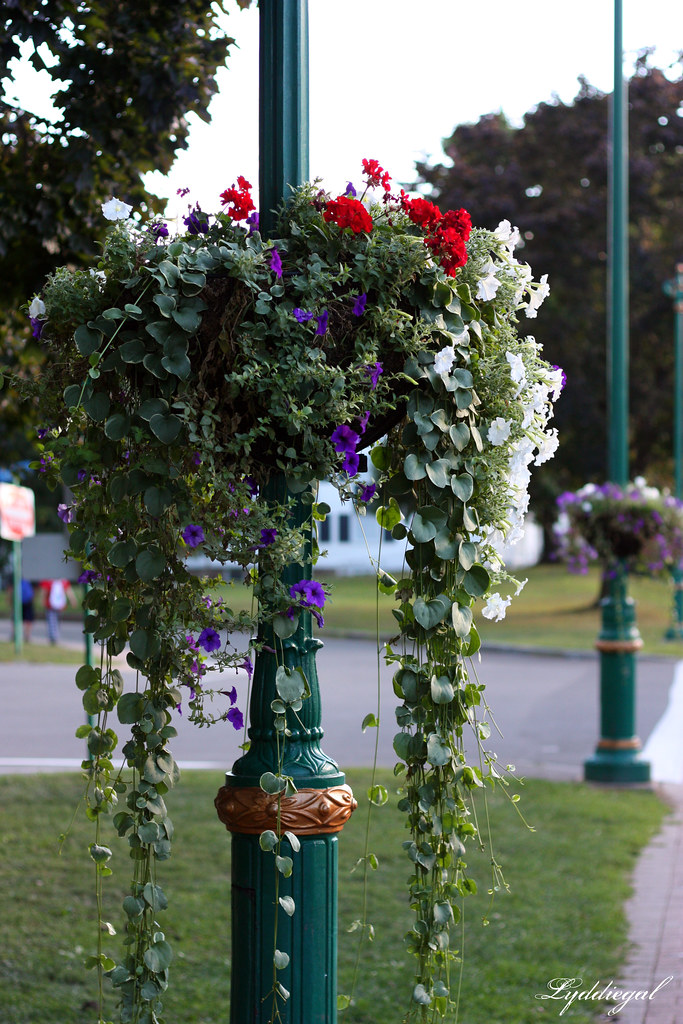 Flowerbaskets on lamp posts