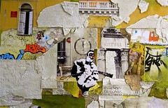 Heh Mr. Guitar Man Play A Song For Me (joycehillstudio) Tags: travel italy streetart art collage painting graffiti photo buffalo artist acrylic photos mixedmedia hill spray next canvas foam joyce works yellows core paints spattering spraypaints joycehill