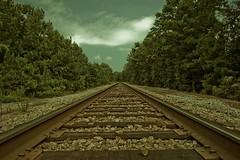 Tracks (HisPhotographs.com) Tags: railroad atlanta train ga vintage georgia rocks crossing traintracks tracks rr pinetrees railroadtracks greentrees peachtreecity ptc southofatlanta shootingfromground