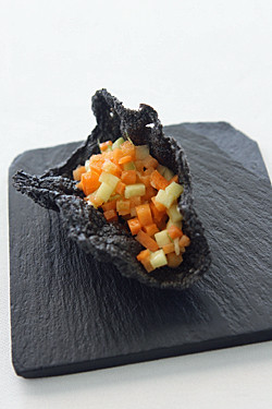 vegetable tartare in black rice cracker