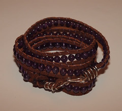 Leather Amethyst Wrap Bracelet
