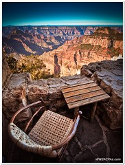 Have a seat and enjoy the view (California CPA) Tags: relax lumix hotel seat grandcanyon olympus canyon lodge enjoy edge views hdr northrim gf1 918mm grandcanyonlodgenorthrimhotel