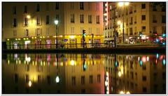 Canal St Martin (Geoffroy65) Tags: city light paris france reflection water night river mirror lumire nuit canalstmartin ville mirroir canalsaintmartin longexposures symtrie poselongue