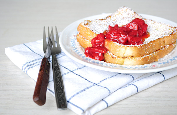french toast & strawberry compote +1