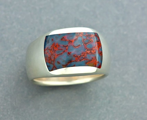 blue red gembone inlay ring