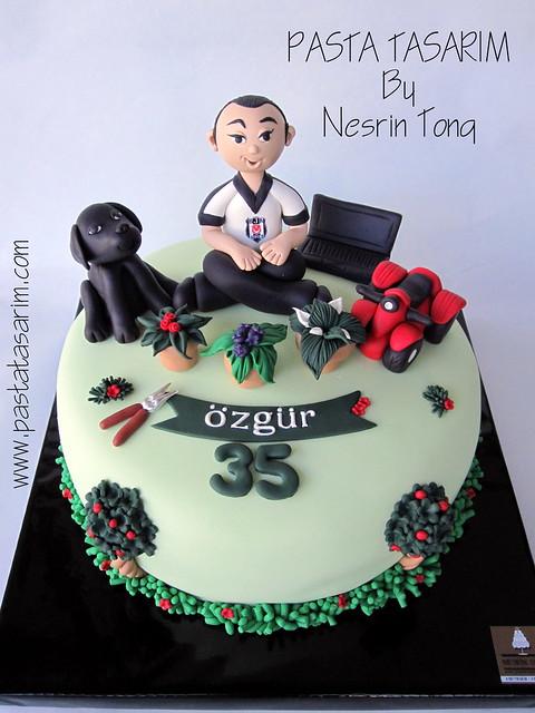 BIRTHDAY CAKE - BLACK LABRADOR, ATV, PC AND FLOWERS
