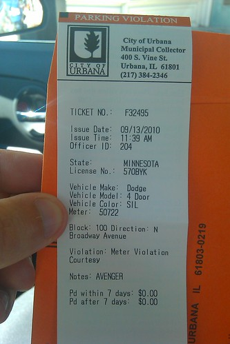 City of Urbana Parking Ticket