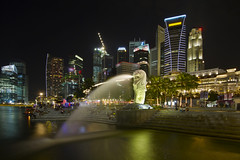 Merlion Park with Singapore City Skyline at Night (David Gn Photography) Tags: park city travel public statue skyline architecture night river landscape outdoors singapore raw waterfront skyscrapers steps officebuildings historic financialdistrict esplanade waterfountain merlion marinabay canoneos7d sigma1020mmf35exdchsm