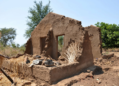 Remains of Edicas' mud hut, Karonga, north Malawi