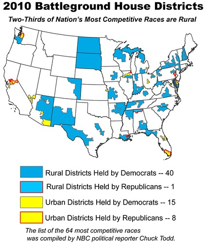 Most Shaky House Districts are Rural