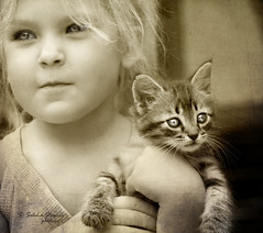 Little Girl with a Kitten (Ekler) Tags: family portrait cute love girl face look childhood cat vintage hair eyes holding kitten child hand looking little small adorable kitty blond portraiture cheeks memory photoart svetlana 40150mm stowers oldschooldigital soloha