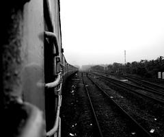 Train  (L) Tags: bw india train long railways far