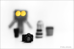 vision (helen sotiriadis) Tags: camera bw white black macro yellow closeup canon lens toy miniature eyes published dof bokeh gear depthoffield vision highkey selectivecolor danbo canonef50mmf14usm photojojo canoneos40d dslrmag