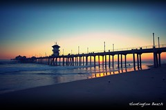huntington beach (Eric 5D Mark III) Tags: ocean california sunset shadow seascape reflection bird beach silhouette contrast pier scenery surf surfer seagull wave atmosphere wideangle orangecounty huntingtonbeach tone bold ef1635mmf28liiusm