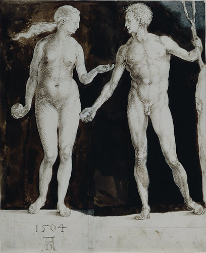 Adam and Eve, Albrecht Dürer, Pen and brown ink, brown wash, corrections in white