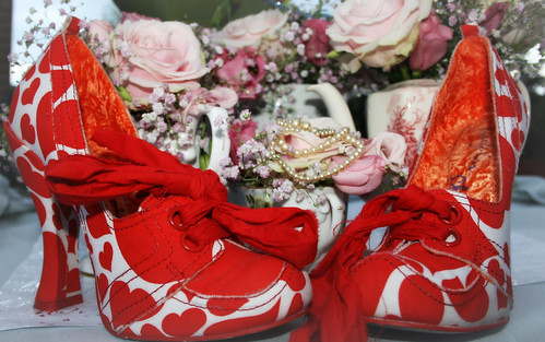 Red shoes and flowers