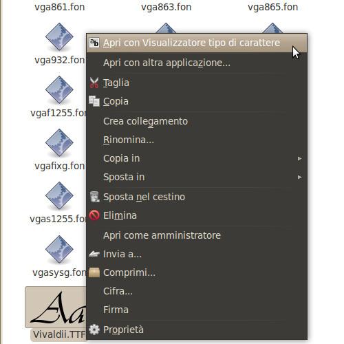 Figura 4 - Tasto destro sul carattere per aprirlo in Visualizzatore tipo di carattere