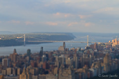 George Washington Bridge in Miniature (scottjacobs | photography) Tags: nyc manhattan rockefellercenter hudsonriver labordayweekend topoftherock georgewashingtonbridge observationdeck september2010 tiltminiatureeffect