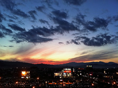 Morioka Sunset (jasohill) Tags: sunset red japan clouds buildings landscape japanese lights landscapes 4 backgrounds  morioka tohoku 2010 touhoku  iphone iphone4 platinumheartaward fotocompetition fotocompetitionbronze
