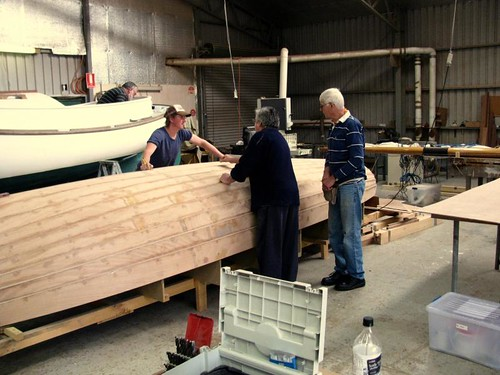 Iain Oughtred Fulmar Sailboat at the Duck Flat boatbuilding School in Adelaide