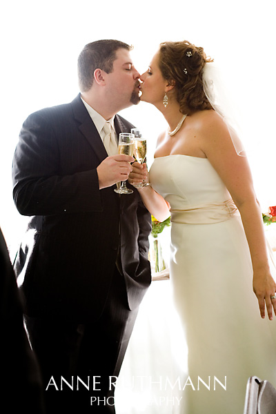 Bride & Groom Kissing White Background