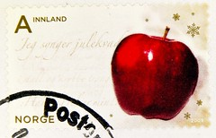 great norwegian xmas stamp Noreg Norge Innland Class Jul apple francobolli natale bollo Norvegia sello navidad Noruega