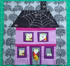 October block - witchy stitch owls at home... (patchwork queen) Tags: halloween sewing quilting quilts quiltingbee alexanderhenryfabrics handmadehalloween rileyblakefabrics calendarofhousesbee halloweenhouseblock