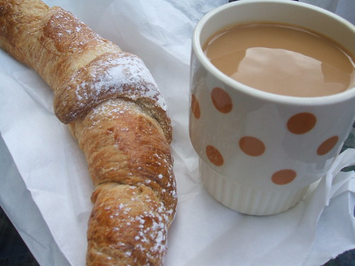 Coffee and chocolate croissant