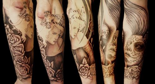 Sylvia Ji sleeve tattoo in progress by Miguel Angel tattoo