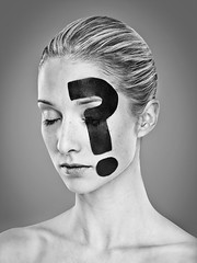 ? (LalliSig) Tags: portrait people woman white black studio eyes closed thought gray makeup portraiture questionmark