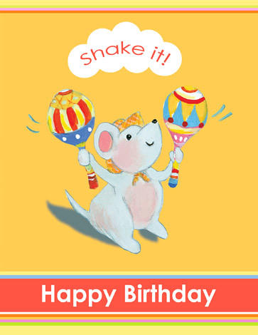 Birthday Maraca Mouse card