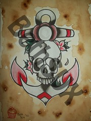 anchor, skull tattoo flash (BethSUX) Tags: old school red color colour water coffee watercolor skull blossom beth oldschool wash anchor watercolour sux coffeewash oldschoolanchor bethsux