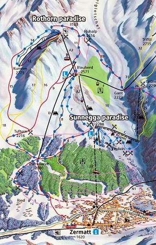 Zermat - mapa Rothorn Paradise