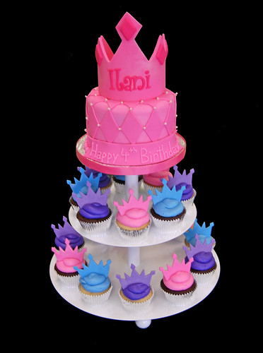 pink purple and blue princess tiara cupcake tower for 4th birthday