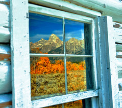 A Window Reflection of Beauty (Jeff Clow) Tags: autumn vacation mountains reflection fall window fallcolor view getaway explore wyoming tetons frontpage grandtetonnationalpark jacksonholewyoming flickrdiamond