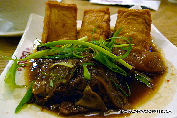 Beef brisket and fried tofu